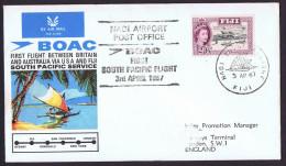 1967  First BOAC Flight Australia - Fiji- USA- England  Eustis 1604   Fiji To England   Cover With Original Insert - Fiji (1970-...)