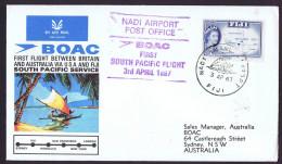 1967  First BOAC Flight Australia - Fiji- USA- England  Eustis 1604a   Fiji To Australia  Cover With Original Insert - Fiji (1970-...)