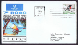 1967  First BOAC Flight Australia - Fiji- USA- England  Eustis 1602a  With Original Insert - Primi Voli