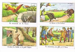 Images Bon Point: éditions éducatives  Fables De La Fontaine 6 Images Signées Calvet-Rogniat -voir Scans Et Description - Vieux Papiers
