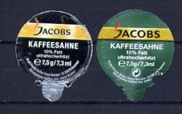 """466 - Mini Opercule (2) Créme Pour Café  """" JACOBS"""" Pour Collection - Milchdeckel - Kaffeerahmdeckel"""