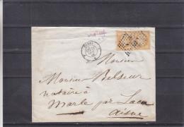 France - Lettre De 1858 - Oblitération Paris à Calais Et Paris à Erquelines - 1853-1860 Napoléon III.