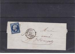 France - Lettre De 1856 - Oblitération Rennes - Paris à Bordeaux - St Jean D'Angers  ??? - 1853-1860 Napoléon III