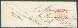 """Bande D'imprimé (devant) De MONS Le 4 Mai 1854 + Franchise """"Le Commissaire D' Herchies""""  Vers Ghlin - 9809 - 1830-1849 (Belgique Indépendante)"""