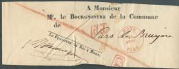 """Bande D´imprimé (devant) De MONS Le 21 Septembre 1840 + Franchise """"Le Procureur Du Roi à Mons""""  Et Griffe PP Et CA Vers - 1830-1849 (Belgique Indépendante)"""