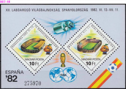 HUNGARY, 1982, 1982 FIFA Soccer World Cup Spain, Soccer, Sheet Of 2, MNH (**), Sc/Mi  2733/Bl-155 - World Cup