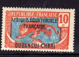Oubangui N° 63 X  10 C. Orange Et Bleu, Trace De Charnière Sinon TB