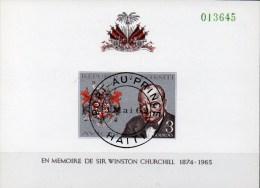 Sir Winston Churchill 1968 Haiti Block 34 O 4€ Imperforiert Porträt Wappen Bloque Memorial M/s Bloc Wap Sheet Bf Caribic - Haïti