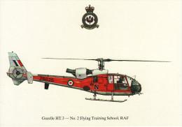 Aircraft Postcard Gazelle HT.3 Helicopter 2 Flying Training School RAF Shawbury - Elicotteri