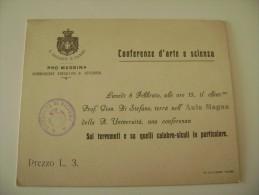 MESSINA TERREMOTO CALABRO  SICULI CARTONCINO REGIA UNVERSITA DI PALERMO  13,5 X11 - Historische Documenten