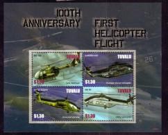 Tuvalu Scott  1040 Mint NH Vf Sheetlet Of 4 CV 9.00 Helicopter Centenary - Tuvalu
