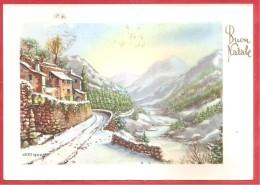 CARTOLINA VG ITALIA - Buon Natale - Auguri - Naif - 10 X 15 - ANNULLO TARGHETTA PESCARA 1955 - Natale