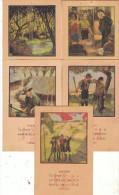 "SCOUTISME - Lot De 5 Cartes - "" La Loi Scoute "" Carte N°4 , N°5, N°6, N°8, N°9. ( Trous De Punaise ) - Scoutisme"
