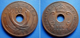 BRITISH  EAST AFRICA  10  Cents 1937 KN  - GEORGE VI - British Colony