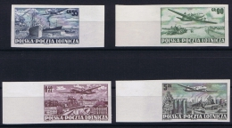 Poland: Mi  728 - 731 B MNH/** Imperforated, Airmail - Luchtpost