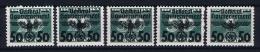 Deutsche Reich: Generalgouvernement Mi Portomarken 35 - 39 MNH/** - Besetzungen 1938-45