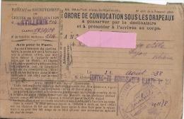 Ordre De Convocation Sous Les Drapeaux  1938 - Documents