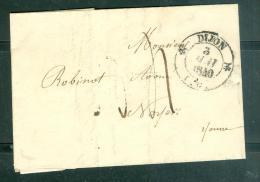 """Timbre à Date """"Dijon"""" En 1840 Sur LAC Pour Noyer ( Yonne ) - Am9511 - 1801-1848: Précurseurs XIX"""