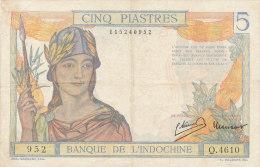 BILLETS  -INDOCHINE   1953  CINQ PIASTRES - Indochina