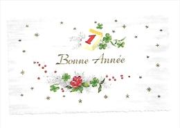 Mignonnette. Bonne Année. Fleurs, Calendrier, Trèfles. Dorée. 6,5/11 Cm - Nouvel An
