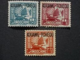 """KOUANG - TCHOU  *  De  1937    """"   Timbres Indochine 1931 Surchargés    """"  N° 97 ,  98 , 99      3 Val . - Unused Stamps"""