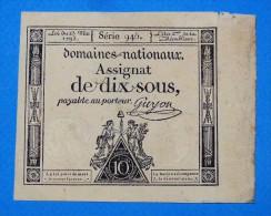 ASSIGNAT De 10 SOUS Série 946 Signé Guyon Du 23 Mai 1793 Paper Money, Port Gratuit Pour La France - Assignats & Mandats Territoriaux