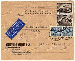 565 - GERMANIA (GERMANY), WEIMAR - 4 MARK (ZEPPELIN) SU BUSTA VIA AEREA PER PARAGUAY, 26/07/1930 - Allemagne