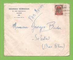 Flamme Faible    Entête:  Georges Sebaoun Alger - Marcophilie (Lettres)