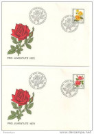 CH - 5977 - 4 Enveloppes Avec Série Po Juventute 1972 - Oblit Spéciale 1er Jour - Roses