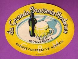ETIQUETTE BIERE LA GRANDE BRASSERIE MODERNE ROUBAIX  BLONDE BOCK 3 - Beer