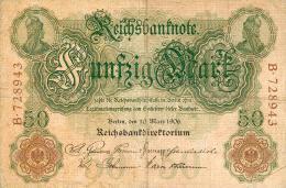 Deutschland, Germany - 50 Mark, Reichsbanknote, Ro. 25 A,  ( Serie B ) VF ( III ), 1906 ! - 1918-1933: Weimarer Republik