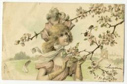 Femme Et Aubépine (genre Viennoise). Carte Gaufrée - Femmes