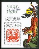 1998 Sud Africa Anno Lunare Della Tigre Year Of The Tiger Animali Animals Block MNH** Spa108 - Blocchi & Foglietti