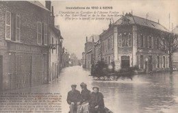 Sens. Inondations De 1910. Inondation Au Carrefour De L'Avenue Vauban, De La Rue Saint Bon Et Rue St Martin. - Sens