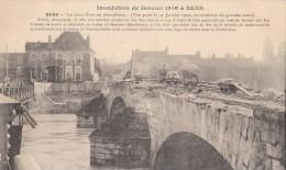 Sens. Inondations De 1910. Le Vieux Pont En Démolition. - Sens