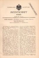 Original Patentschrift - John Jackson In Dulwich / London , 1891 , Typewriter, Printing !!! - Tools