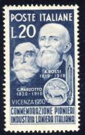 Pionieri Dell´Industria Laniera - 1950 - 20 Lire (Sassone 628) MNH** - 1946-60: Nuovi