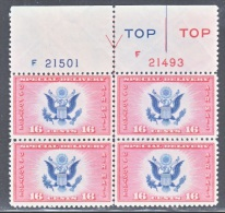 U.S. C E 2    **   Plate Bloc Of 4  Reg. Num.  Arrow - Air Mail