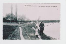 Reproduction - 21 - CHAUGEY - La Saône Et Le Pont De L'Auson - Homme Fillette Pecheur Ligne - - Autres Communes