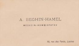 A. BEGHIN-HAMEL   MEDECIN HOMEOPATHE  LOCHES  INDRE ET LOIRE - Visiting Cards