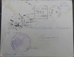 """ENVELOPPE DÉPART FEZ MAROC 1932 SANS TIMBRE AVEC TAMPON MILITAIRE """"RÉGION DE FEZ"""" - Morocco (1956-...)"""