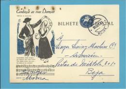 MOURA - BEJA - 30.09.1963 - SINGER - INTEIRO POSTAL STATIONERY - CONHEÇA AS SUAS DANÇAS - CHULA De AMARANTE - PORTUGAL - Entiers Postaux