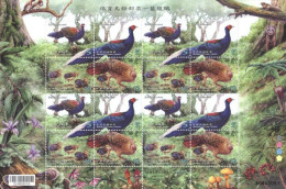 2014 Conservation Of Birds Stamps Sheet-Swinhoe Pheasant Mother Children Bird Forest Fern Squirrel Fungi Mushroom Fruit - Pilze