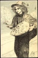 Künstler Ak Klinger M., Margueritentag 1911, Mädchen - Allemagne