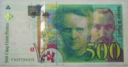 Billet De 500 Frs De 1994 Serie T027799219 Pierre Et Marie CURIE  Paper Money, Port Gratuit Pour La France - 1992-2000 Dernière Gamme