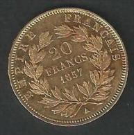 20 FRANCS OR NAPOLEON III -TETE SANS LES LAURIERS 1857 A -EC/SUP.VOIR DETAIL ANNONCE - France