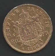 20 FRANCS OR NAPOLEON III -TETE SANS LES LAURIERS 1868 A -EC/SUP.VOIR DETAIL ANNONCE - France