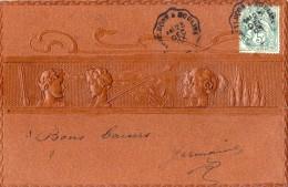 KIRCHNER RAPHAEL CARTE IMITATION  CUIR GAUFFRE BAS RELIEF TOP RARE - Kirchner, Raphael