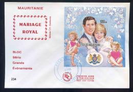 PJM234 -  Mauritanie -  Bloc -  Mariage Royale -Le Prine Charles - La Princesse Lady - Diana -  26 Avril  1984 - - Mauritanië (1960-...)