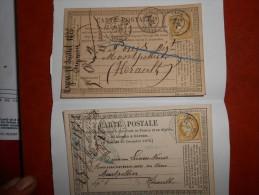 PP-10_2 Cartes Precurseurs:,Belleville Et Lyon - 1871-1875 Cérès